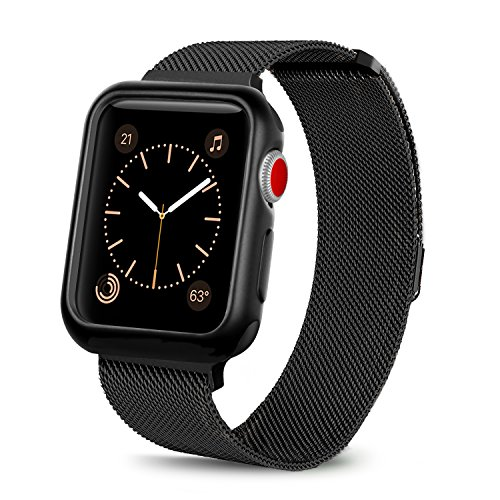 WEFU for Apple Watch Band with Case 38mm 42mm, Stainless Steel Mesh Milanese Loop with Adjustable Magnetic Closure Replacement Wristband iWatch Band for Apple Watch Series 3 2 1