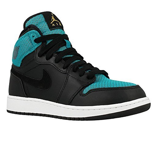 NIKE Girls AIR Jordan 1 Retro HIGH GG, Black/Metallic Gold-Rio Teal-White, 6.5Y by NIKE