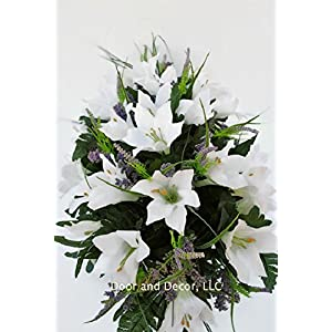 Cemetery Spring Flowers ~Spring white lilly mix~headstone saddle arrangement~cemetery flower service~grave site decor~sympathy flowers~flowers for graves~Lillies and wildflowers 2