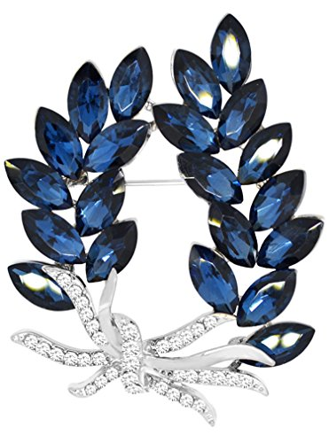 Gyn&Joy Gold Tone Olive Leaf Branch Swarovski Element Crystal Rhinestone Holiday Pin Brooch BZ054 (Blue)
