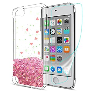 iPod Touch 6 Case,iPod Touch 5 Glitter Case With HD Screen Protector For girls,Slook[Heart Series]Liquid Glitter TPU Soft Shockproof Phone protective Cover for Apple iPod Touch 5 6th Gen LS Rose Gold