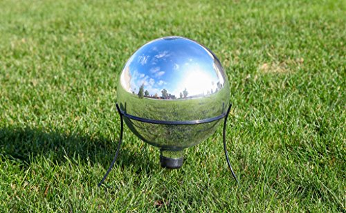Lily's Home Glass Gazing Mirror Ball, Colorful and Shiny Addition to Any Garden or Home, Ideal As a Housewarming Gift, Sparkling Silver (10 Inches Diameter) by Lilyshome (Image #2)