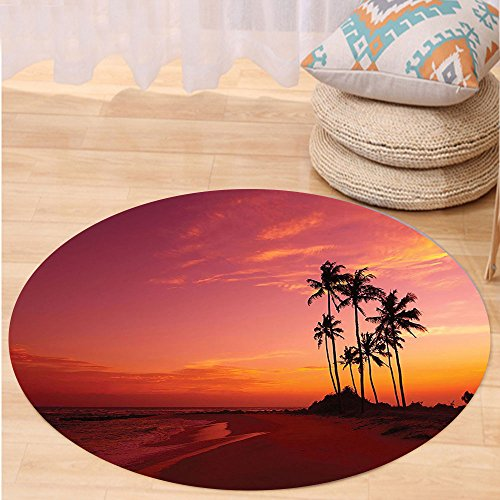 VROSELV Custom carpetOcean Decor Exotic Beach Photo over the Ocean Fantastic Hawaii Style Palm Trees at Sunrise Summer Wonderland Bedroom Living Room Dorm Decor Red Round 79 inches by VROSELV