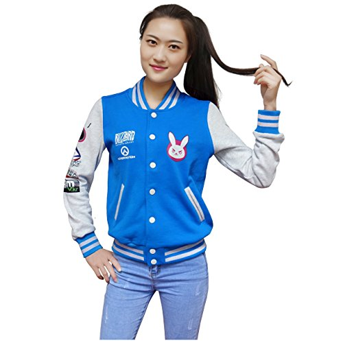 Dazcos Autumn For D Va Print Long Sleeve Blue Coat Cosplay