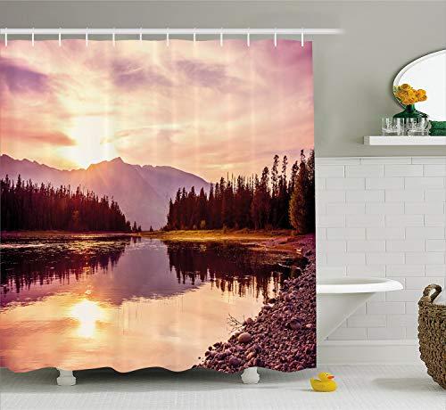 Ambesonne Landscape Shower Curtain, Grand Teton Mountain Range at Sunset Jackson Lake Calm National Park USA, Cloth Fabric Bathroom Decor Set with Hooks, 75