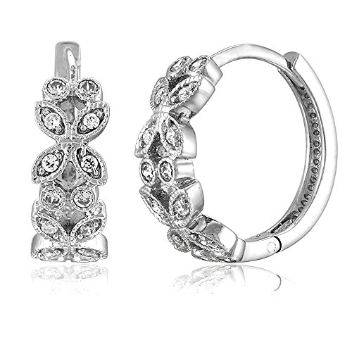 BERRICLE Rhodium Plated Sterling Silver Cubic Zirconia CZ Leaf Milgrain Small Fashion Hoop Huggie Earrings 0.5