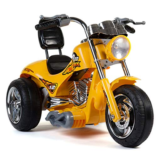 BIG TOYS DIRECT Kids 12V Two Speed Red Hawk Motorcycle in Yellow