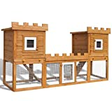 Online Gym Shop CB17603 Outdoor Wooden Chicken Coop Rabbit Hutch House Pet Cage Double House with Run - 76 in. & Large