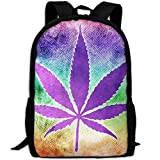 Backpack Adult Mysterious Purple Leaves Unique Shoulders Bag Daypacks