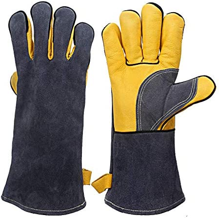 Extreme Heat/Fire Resistant Gloves LeatherKevlar Stitching Mitts Perfect for Welding/Oven/Grill/BBQ/Mig/Fireplace/Stove/Pot Holder/Tig Welder/Animal Handling