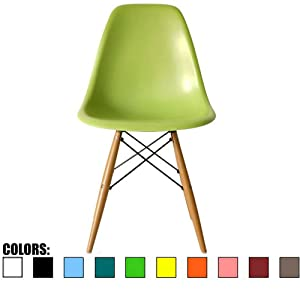 2xhome - Green - Plastic Side Chair Natural Wood Legs Eiffel Dining Room Chair - Lounge Chair No Arm Armless Less Chairs Seats Wooden Wood Leg Wire Leg