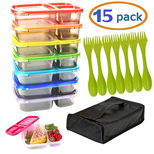 Meal Prep Containers with Lids 7 Reusable 3 Compartment Food containers with Holder & 7 Utensils BPA Free Food Storage Freezer, Dishwasher, Microwave Safe Weekly Food Portion Control Containers