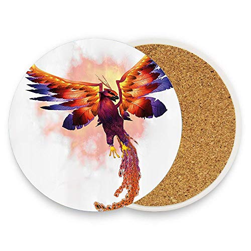keyishangmaoLu The Phoenix Firebird with Large Wings Illustration Mythical Symbol Print Coaster Ceramic Cork Trivet Heat Resistant Hot Pads Table Cup Mat Coaster 1 Piece