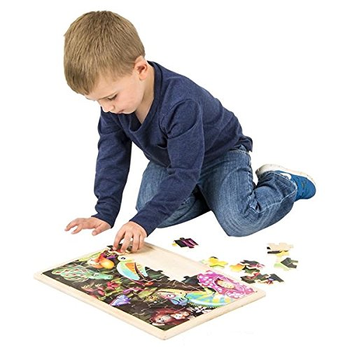 Hands On Learnign Jigsaw Puzzle Jungle Animals Wood Puzzle - Wonders of the Wild - Wooden Floor Puzzle 48 Pieces Childrens Puzzle
