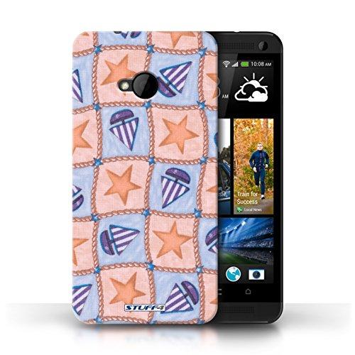 Etui / Coque pour HTC One/1 M7 / Pêche/Violet conception / Collection de Bateaux étoiles