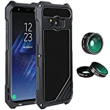 """Samsung Galaxy S8 Plus Lens Kit Case, SHEROX - 3 in 1 198° Fisheye Lens + 15X Macro Lens + Wide Angle Lens with IP54 Dustproof Shockproof Aluminum Case for Galaxy S8 Plus+ (6.2"""" Screen), Black"""