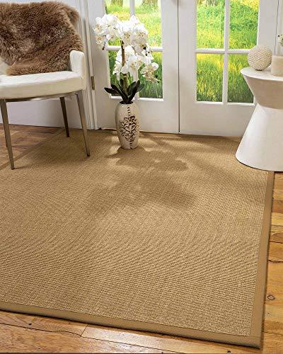 - NaturalAreaRugs 100%, Natural Fiber Handmade Moda, Light Brown Sisal Rug (2' X 3'), Doe Border