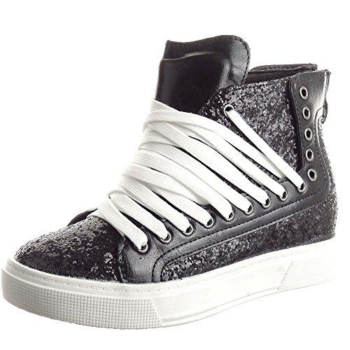 Sopily - Scarpe da Moda Sneaker Zeppa donna zip paillette Tacco zeppa 4 CM - Nero