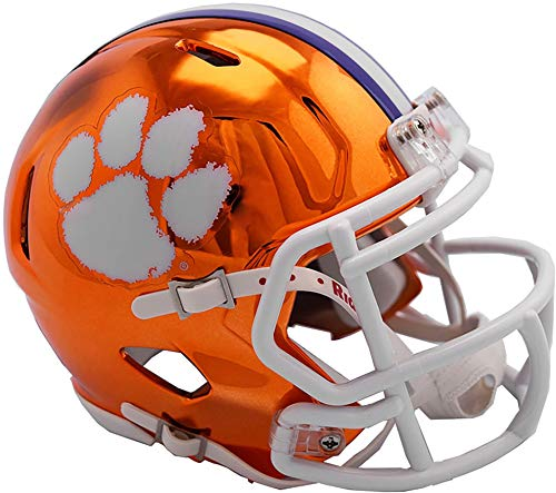 Sports Memorabilia Riddell Clemson Tigers Chrome Alternate Speed Mini Football Helmet - College Mini Helmets