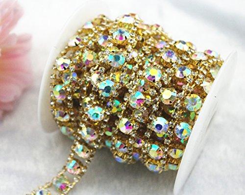 AEAOA 1 Yard 2 Rows 2.5mm Costume Applique Crystal AB Rhinestone Gold Chain Sew On Rhinestone Wedding Cake Decoration