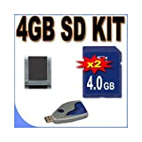 Two 4GB SD Secure Digital Memory Cards BigVALUEInc Accessory Saver Bundle for Canon Cameras + More