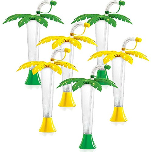 Palm Tree Luau Yard Cups Party 6-Pack - for Margaritas, Cold Drinks, Frozen Drinks, Kids Parties - 9 oz. (250 ml) - set of 6 Yard Cups in assorted Palm colors - BPA Free and Crack Resistant -
