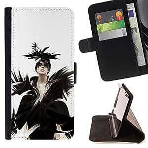 KingStore / Leather Etui en cuir / HTC One M9 / Goth Señora Reina