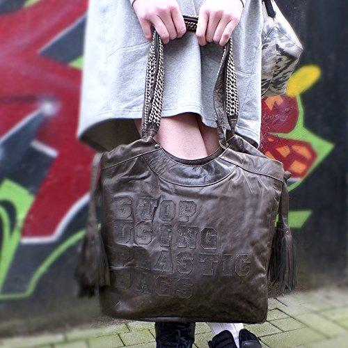 Damen Tasche Shopper dunkelbraun Leder Fransen