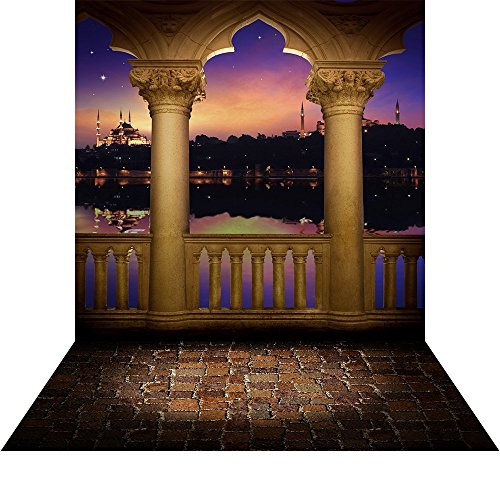 Photo Background with Floor - Arabian Nights with Portico - 10x20 Ft. High Quality Seamless Fabric