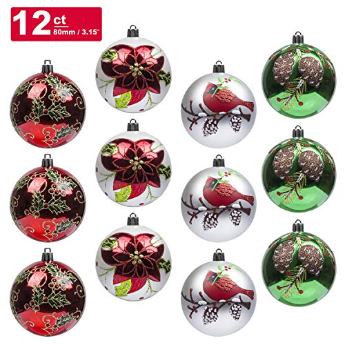 KI Store Christmas Balls Ornament 12ct Shatterproof 3.15-Inch Tree Ball Cardinal and Poinsettia Woodland Theme for Xmas Trees, Parties, and Holiday Decoration