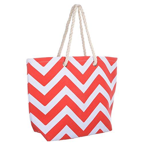 Handbag Chevron Canvas Shopping Tote Red Reuseable Shoulder Ladies Holiday Chevron Summer Beach Bag v5xP85gTqn