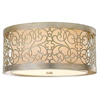 Murray Feiss FM339SLP, Arabesque Indoor Flush Mount, 2 Light, 120 Total Watts, Silver Leaf Patina