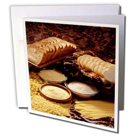 3dRose TDSwhite – Farm and Food - Food Breads Pasta Healthy Grains - 6 Greeting Cards with Envelopes (gc_285121_1) by 3dRose