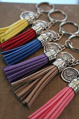 Amazon com: Tassel keychain, Personalised keyring, Initial