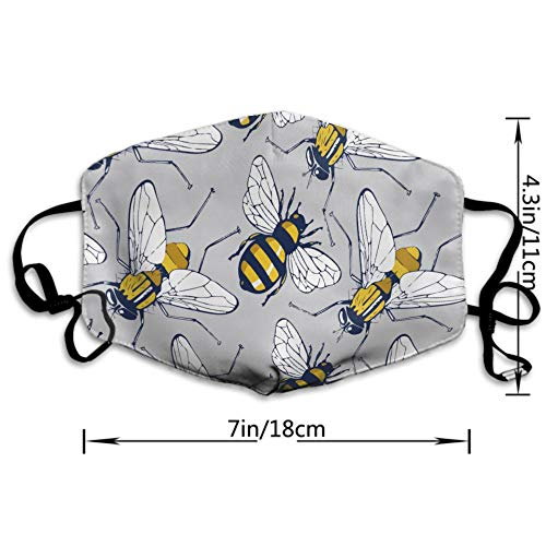 NEWKOW Mouth Mask, Unisex Ear Loop Face Mask, Anti Dust Warm Ski Cycling Safety Fashion Mask Various Use with Adjustable Ear Loops, Bee Flying