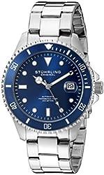 Stuhrling Original Men's 792.02 Aquadiver Analog Display Automatic Self Wind Silver Watch