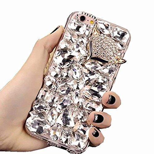 Alcatel Fierce 4 Case,Alcatel Allura Case,Alcatel Pop 4 Plus Full Crystal Diamond Case, 3D Handmade Fox Head Sparkle Crystal Rhinestone Diamond Glitter Bling Clear TPU Case (Clear/Fox)