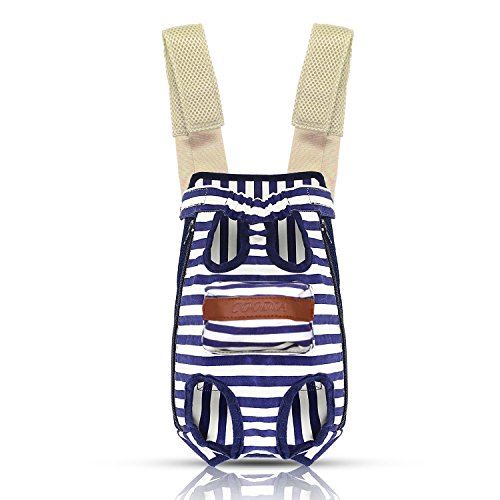 COODIA Legs Out Front Pet Dog Carrier Front Chest Backpack Pet Cat Puppy Tote Holder Bag Sling Outdoor (L, Blue) by COODIA