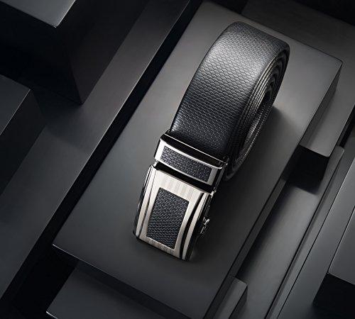 Mio Marino Classic Ratchet Belt - Premium Leather - 1.38 Wide - Adjustable Buckle - Free Gift Box - Indented Border Ratchet Belt - Black - Adjustable from 38'' to 54'' Waist by Marino Avenue (Image #2)