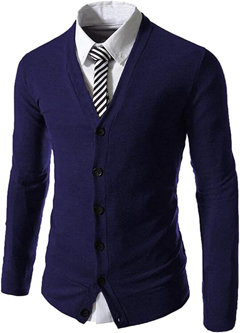 yibiyuan Mens Sweaters Long Sleeve Buttons Business Knit Cardigan Sweaters Navy Blue Large