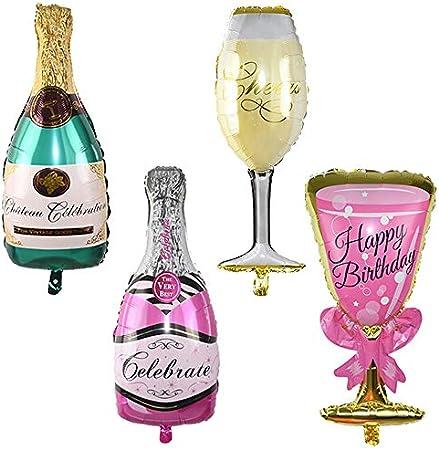 Ceqiny Juego de 4 globos de aluminio para botella de champán rosa y copa de vino botellas de whisky globos de Mylar globos de cerveza decoración para fiestas de mardi gras suministros para fotomatón