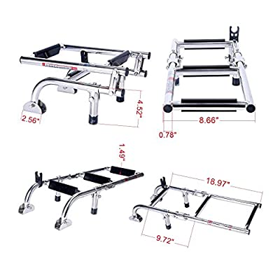 Amarine-made Marine Boat Foldable Stainless Steel 3 Steps Ladders Stern Mount W Rubber Grips