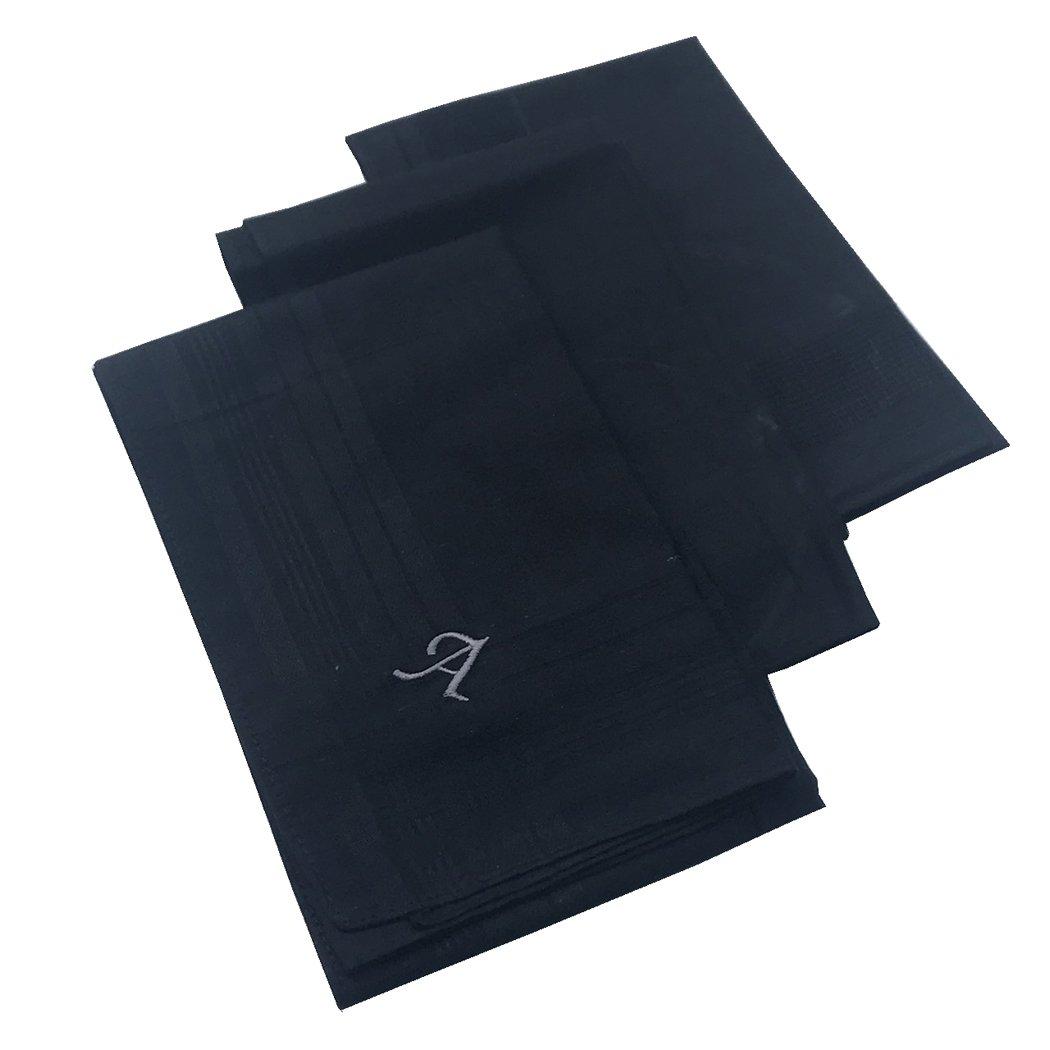OWM Handkerchief Pack of 3 Cotton Embroidered Initial Monogram Handkerchief Men (A, Black)