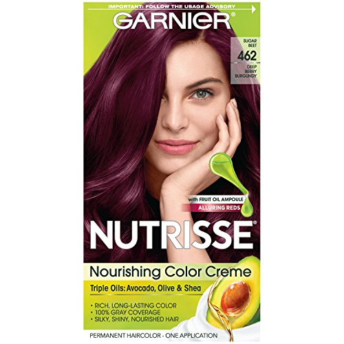 Garnier Nutrisse Nourishing Hair Color Creme, 462 Dark Berry Burgundy (Packaging May Vary)