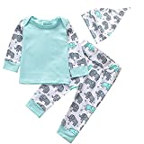 (US) Newborn Baby Boys Girls Clothes Long Sleeve Elephant Printed Tops Pants with Hat 3pcs Outfit Set (Green, 70/0-3months)