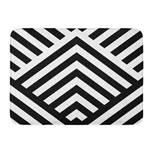 - Emvency Doormats Bath Rugs Outdoor/Indoor Door Mat Striped Black White Diagonal Lines Zigzag Chevron Rhomboid Scales Optical Effect Geometric in Op Illusive Bathroom Decor Rug Bath Mat 16