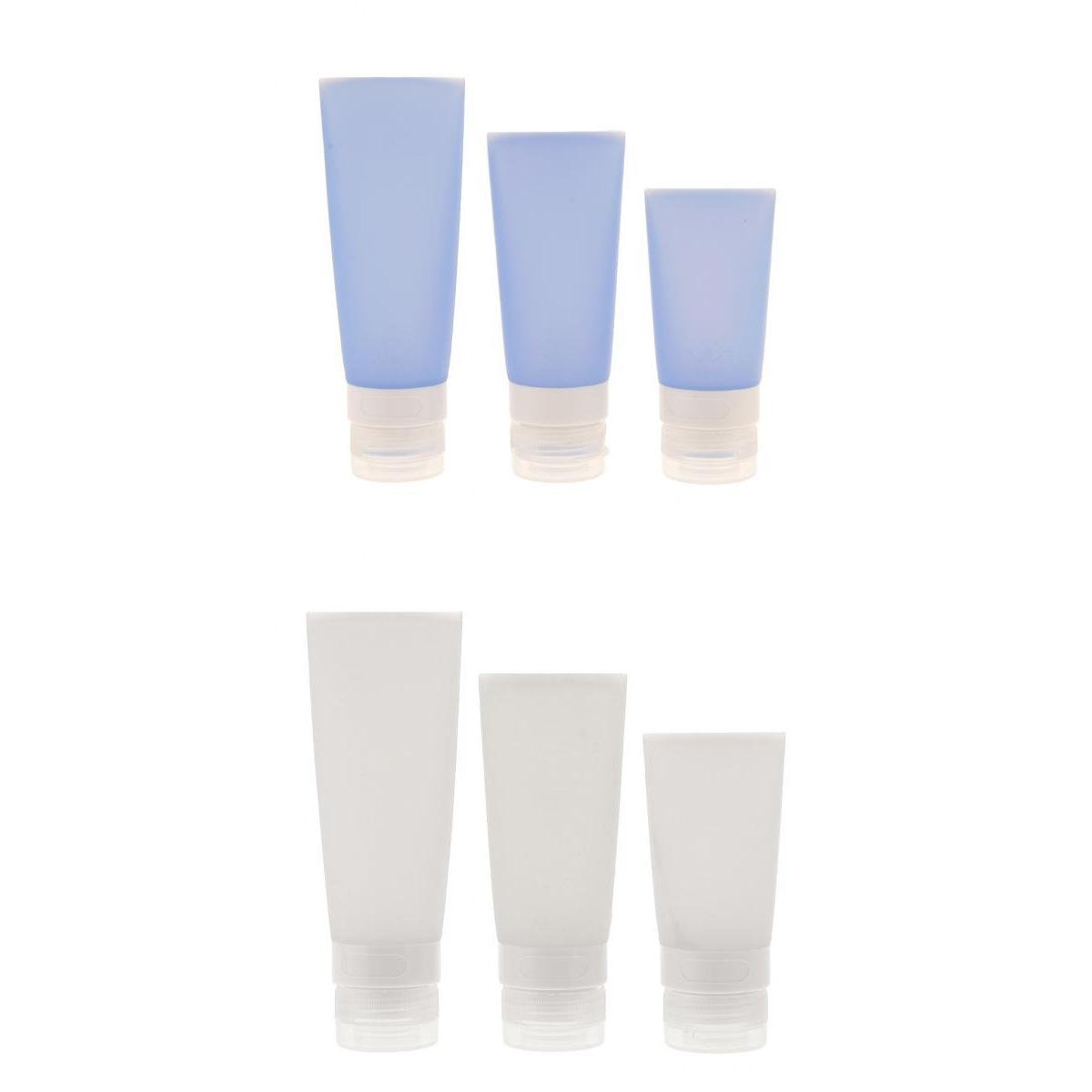 MagiDeal 6PCS 38/60/80ML Empty Refillable Frosted Silicone Travel Cosmetic Makeup Soft Tubes Container Bottle with Flip Cap Shower Lotion Cleanser Packing Sample Bottles