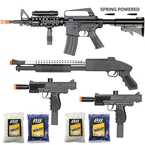 BBTac Airsoft Gun Package - The Operator - Collection of 4 Airsoft Guns - Powerful Spring Rifle, Shotgun, Two SMG, 4000 BB Pellets, Great for Starter Pack Game Play - Shotgun Air Rifles