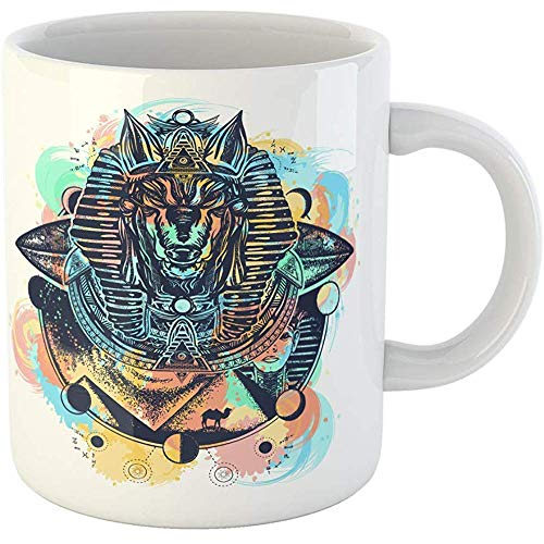 Funny Office Coffee Mug Anubis Watercolor Splashes Color Tattoo and T-Shirt Design God of 11 Oz Ceramic Coffee Mugs Tea Cup Souvenir -