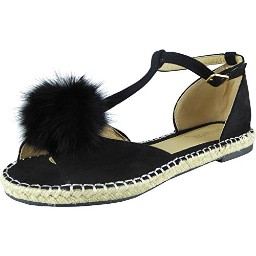 Negro Loud Look T Piel Planos Mujer Pompón Barra 8 Peep 3 Toe Zapatos Alpargatas Sandalias Talla ZZdnraqtx